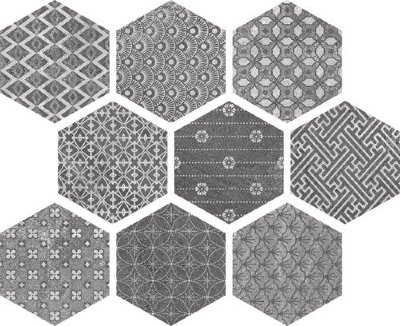 Ape Hexagon Kendo mix Grey 23x26 керамогранит